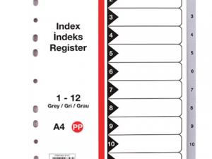 Jeux de 12 intercalaires en plastique souple numéroté